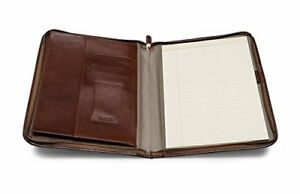 Business Padfolio Executive Leather Writing Portfolio Document Holder Brown