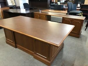 Oversized Executive Desk Credenza Set By Jofco Office Furniture In Walnut