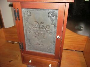 Primitive Wooden Wall Cabinet W Punched Tin Door Panel