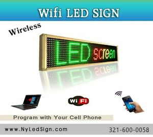 Led Sign Wireless Programmable Scrolling Message Sign 15 X 78 Tri Color