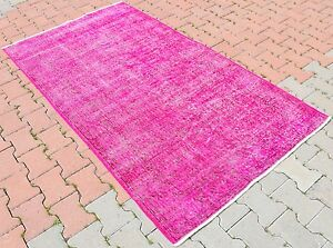 Vintage Turkish Oushak Fuchsia Pink Color Overdyed Hand Knotted Area Rug 4x7 Ft