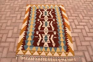 Turkish Handmade Natural Colors Wool Flat Woven S Antique Cecim Style Kilim Rug