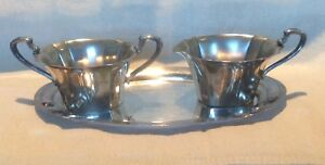 Wm Rogers Silver 4810 Star Cream And Sugar Bowl With Tray