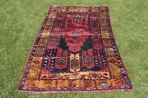 4x9ft Turkish Vintage Prayer Design Rug Handwoven Anatolian Yahyali Carpet