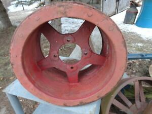 Vintage Flat Belt Pulley 9inch By 16inch Metal And Wood