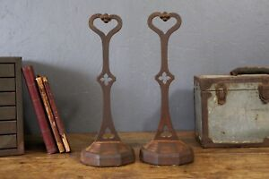 Antique Cast Iron Heart Shaped Fireplace Andirons Bookends 16 Tall Vintage Old