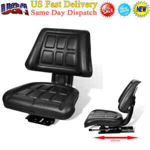 Tractor Seat With Backrest Steel pvc Mower Forklift Seating Waterproof Black