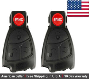 2 New Replacement Remote Key Fob Button Pad For Mercedes Benz Iyz3312 Shell Only
