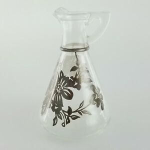 Sterling Silver Overlay On Glass Pitcher Decanter Vintage