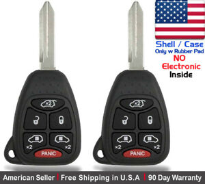 2x New Replacement Keyless Remote Key Fob For Chrysler Dodge Shell Only