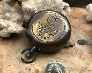 Nautical Anchor Style Push Button Marine Compass With Leather Case Free Gift