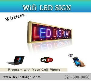 Led Sign Wifi Programmable Digital Scrolling Message Sign 15 X 65 7 colors