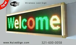 Led Sign Wifi Digital Programmable Scrolling Message Sign 15 X 40 3 color