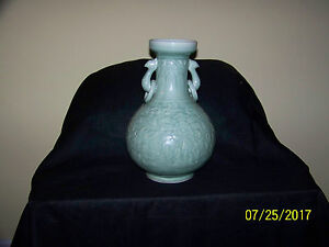 Large Chinese Qing Dy Hand Carved Lotus Flower Pheonix Handle Celdon Vase