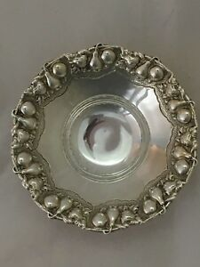 925 Sterling Silver Candy Dish Bowl With Fruit Design On 3 Feet