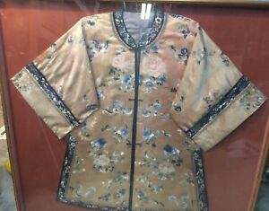 Antique Chinese Embroidered Robe Gold Beige Blue Flowers Silk Art Shadow Box