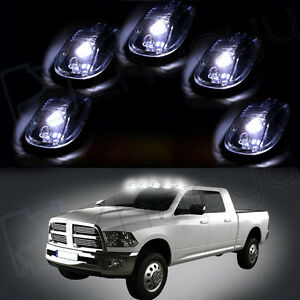 5 White Led Cab Roof Lights Running Marker Clear Lens Fit Dodge Ford Truck F250