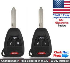 2x New Replacement Keyless Remote Key Fob For Chrysler Dodge Jeep Shell Only