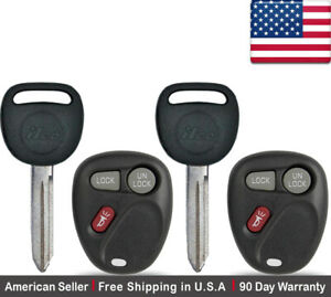 2x New Non Transponder Key Remote For Chevy Gmc Cadillac Pontiac B102p Lhj011