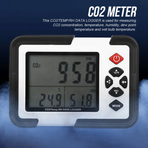 Lcd Digital Co2 Monitor Temperature Humidity Meter Tester Data Logger 9999ppm