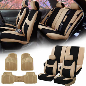 Beige Black Car Seat Covers Full Set For Auto W 2 Headrests Rubber Floor Mats
