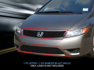 Fits 2006 2007 Honda Accord Coupe Black Billet Grille Grill Combo Grill