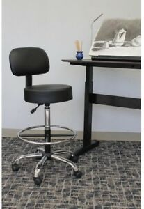 Medical And Drafting Stool With Back Cushion And Caressoft Vinyl Black chrome