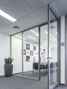 Cgp Office Partition System Glass Aluminum Wall 9 X 9 W Door Clear Anodized