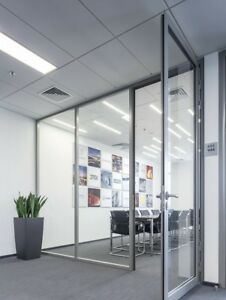 Cgp Office Partition System Glass Aluminum Wall 11 X 9 W Door Clear Anodized
