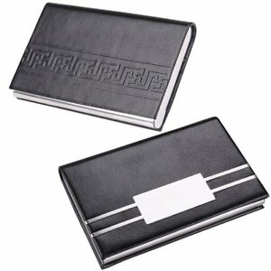 Professional Business Card Holder Leather Credit Card Case With Magnetic Stainle