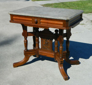 Walnut Victorian Eastlake Marble Top Center Table Writing Desk Circa 1880
