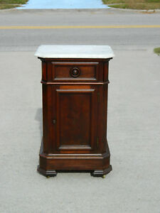 Walnut Victorian Marble Top 1 2 Commode Circa 1865