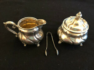 German Handarbeit 835 Sterling Silver 3 Pc Sugar Creamer Bowls And Tong