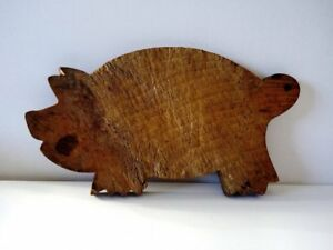 Antique Pig Shaped Wooden Chopping Cutting Board Bread Board