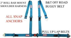 Clip In 4 Point 2 Seat Belt Roll Bar Mount Harness Buggy Belt Electric Blue
