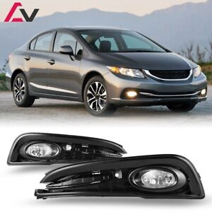 For Honda Civic 13 15 Clear Lens Pair Oe Fog Light Lamp Wiring Switch Kit Dot