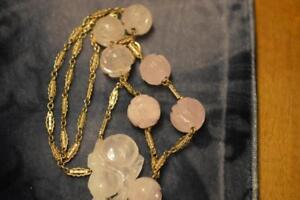 Antique Chinese Ornate Shou Carved Pink Jade On Gilt Silver Necklace