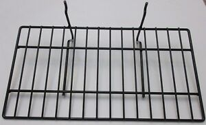 Lot Of 7 Black Metal Wire Slatwall Pegboard Shelves 15x8 Retail Display Fixtures