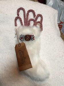 Christmas Primitive Country Handmade Candy Canes Package Of 6 With Stocking