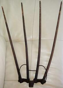 Primitive 19th Century Cast Iron Pitchfork Hay Fork W 4 Wooden Tines Us Pat Date