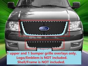 Black Rivet Formed Mesh Grille Combo Inserts For Ford Expedition 2003 2006