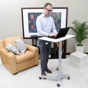 Mobile Laptop Computer Desk Cart Pneumatic Adjustable Height And Wheels White