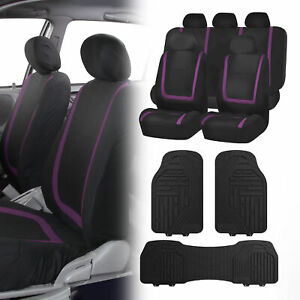 Black Purple Car Seat Covers With Black Premium Floor Mats For Auto Car Suv