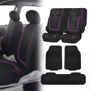 Black Purple Seat Covers Set For Car Suv Auto With Black Floor Mats