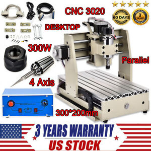 300w Cnc 3020 Router Engraver 4 Axis Engraving Milling Drilling Machine Cutter