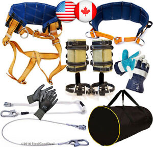 Tree Climbing Spike Set Spurs 2harness Belt 2safety Lanyard 2gloves Bag New