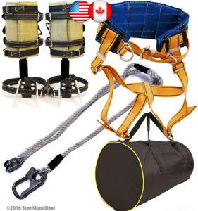 Tree Climbing Spike Set Spur Harness Belt Adjustable Safety Lanyard Rope Bag New