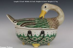 Fine Beautiful Chinese Famille Rose Porcelain Duck Box