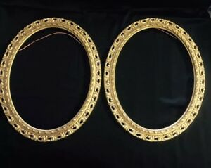 Pair Large Antique Vintage Oval Rococo Gilt Wood Gesso Frames 16 5 X 13 5