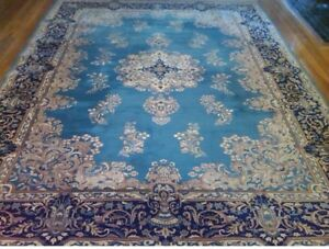 Vintage Silk Wool Blue Chinese Rug Persian Design Approx 9x7 Pick Up Nyc